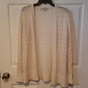 Loft Off White Open Front Cardigan Zigzag Mod